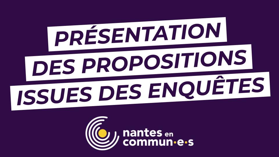 Le 27 juin, présentation des premières propositions issues des enquêtes