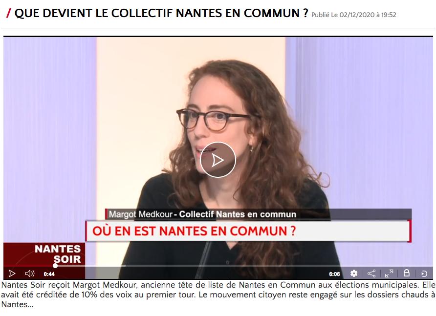 Interview Télénantes de Margot pour Nantes en commun le 2 décembre 2020