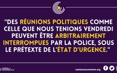 La police interrompt une réunion Nantes en commun  dans un bar fermé
